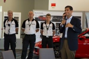 Porsche Canada president and CEO Joe Lawrence introduces the day and the team of instructors