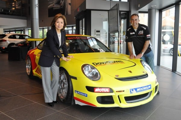 Helen Ching-Kircher and Ilker Starck with the DFC GT3 race car