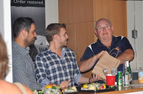 Our Hosts, Ron and Gav, with UCR President Walter Murray drawing prizes
