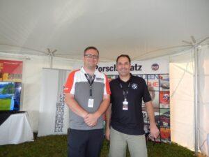5. Left to right Ben Badenoch (Porsche Cars Canada), Aaron Ambrosino (PCA National Treasurer) TUDOR Porscheplatz July 2015