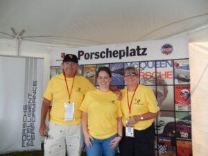 7. Left to right- Porscheplazt volunteers John Van Atter, Jennifer Bischoff Webb, Pat Van Atter TUDOR Porscheplatz July 2015