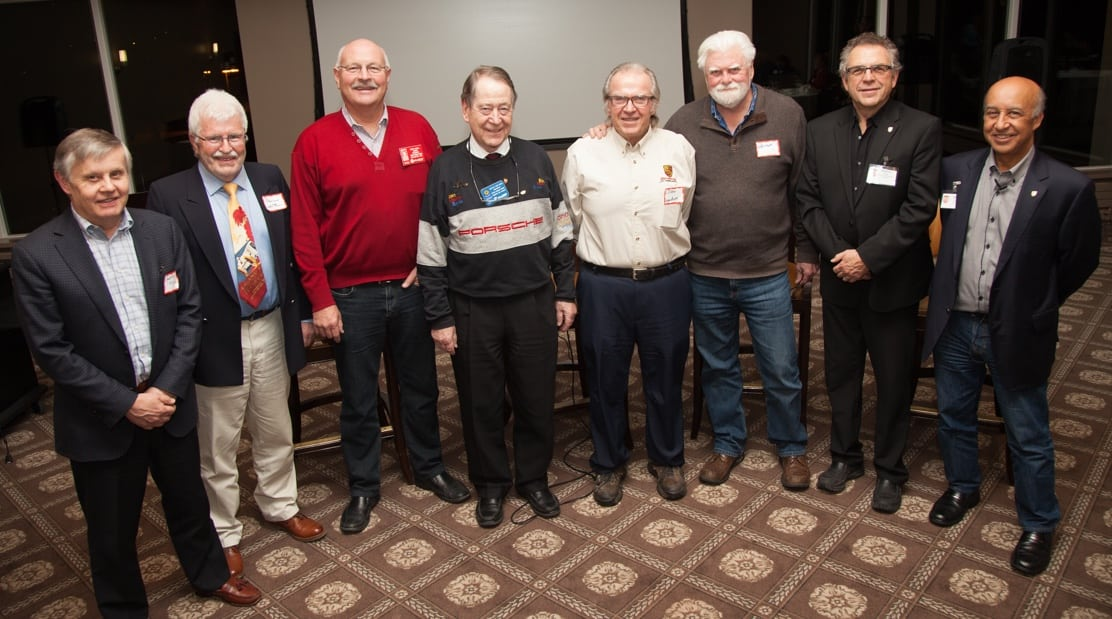 Presidents at Social, left to right: Geoff McCord '76, Phil White '91, Gord McNeil '94, Botho von Bose '96, Peter Helston '02, Martin Tekela '09 & '10, Mike Bryan '15 & '16.