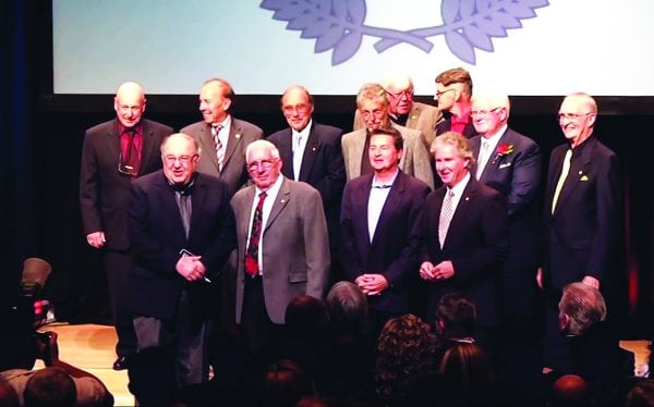 Inductees into the Canadian Motorsport Hall of Fame, Jack Christie is front left. Photo Courtesy of Canadian Motorsport Hall of Fame