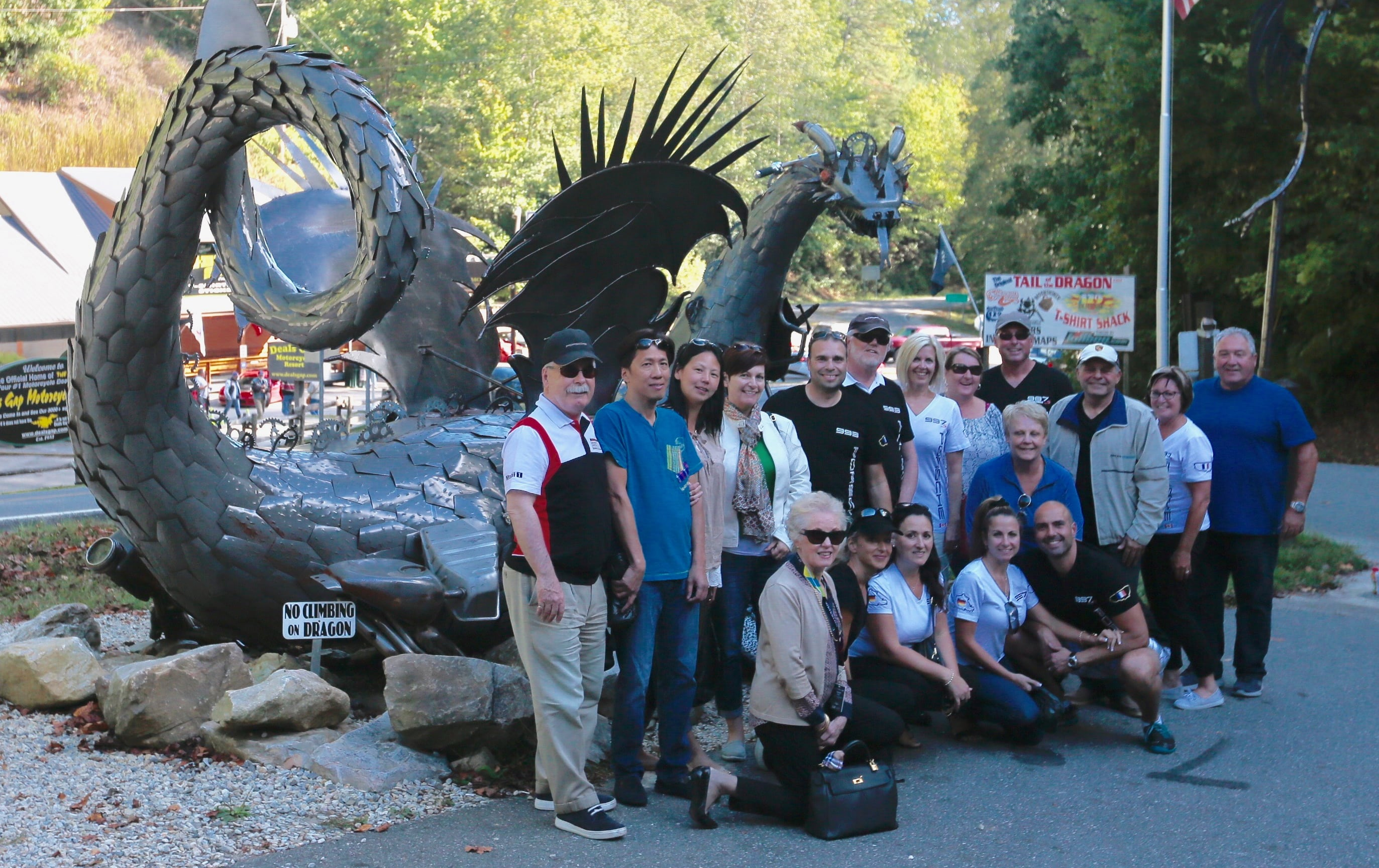 "The group shot after tackling the ""Tail of the Dragon"""
